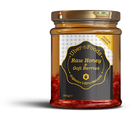 Uber Foods - Certified Organic Raw Honey with Goji Berries